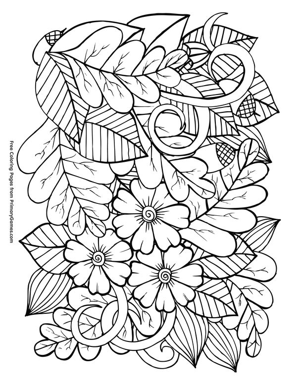Fall-Coloring-Pages-eBook-Leaves-and-Acorns Fall Coloring Pages eBook: Leaves and Acorns