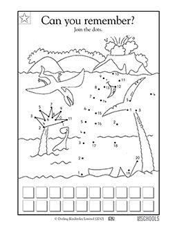 Kindergarten, Preschool Math Worksheets: Dinosaur connect the dots Wallpaper