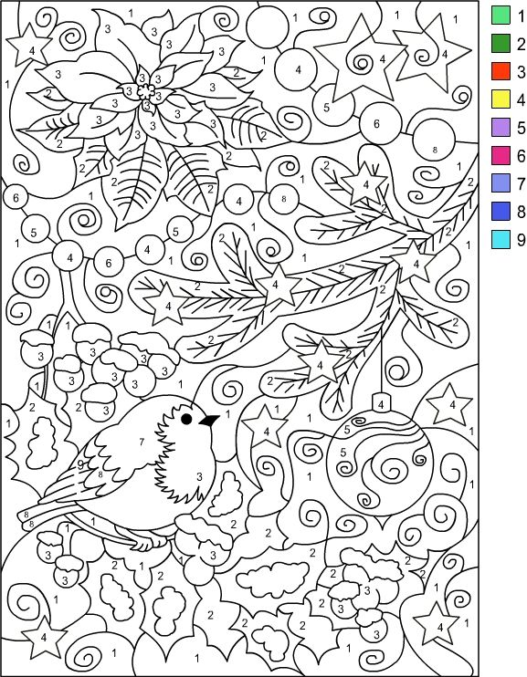 Nicole's Free Coloring Pages: COLOR BY NUMBER WINTER * Coloring page Wallpaper