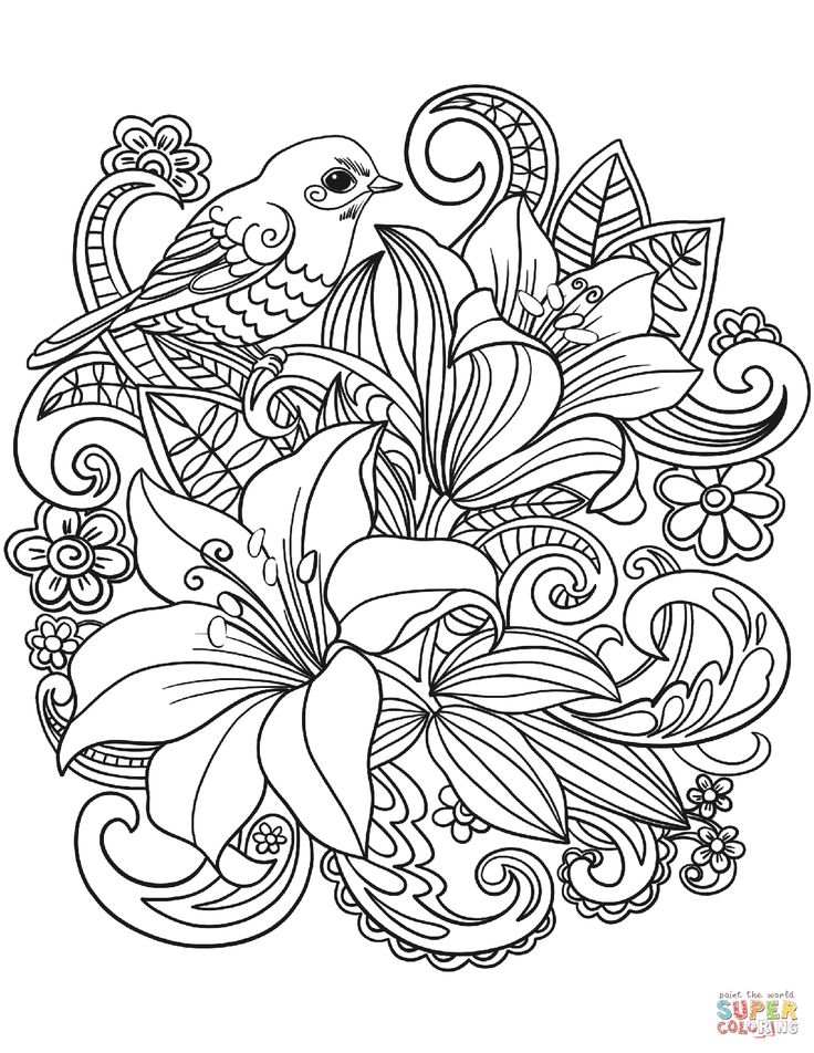 Skylark and Flowers coloring page | Free Printable Coloring Pages Wallpaper