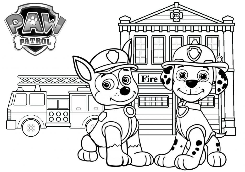 Paw patrol fire station printable coloring page on tsgos.com 7
