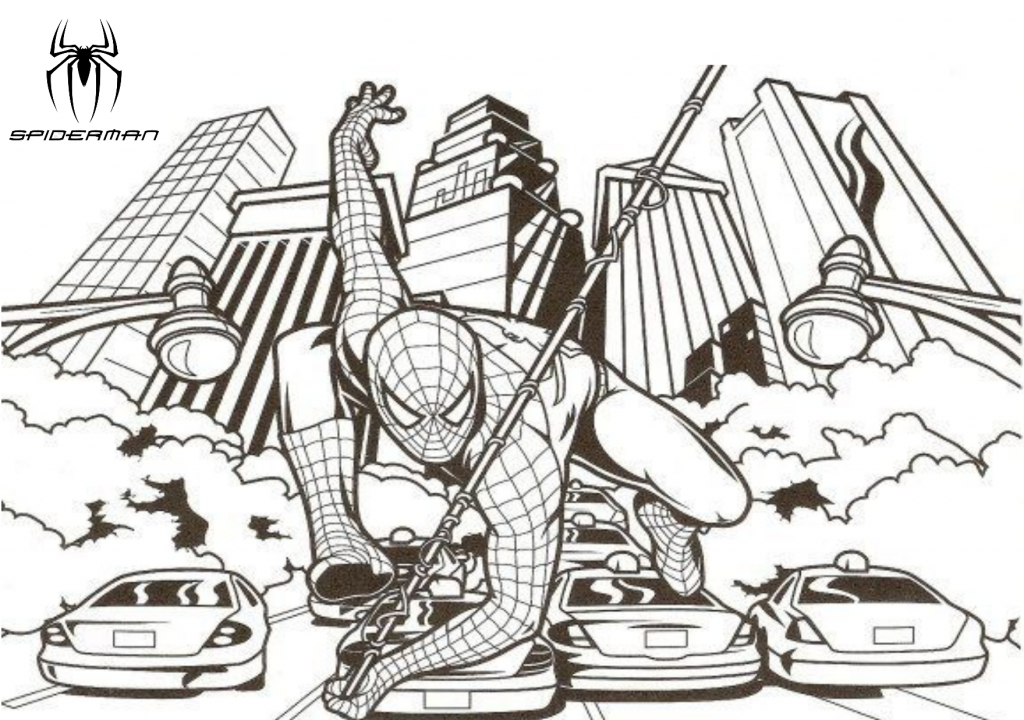 Spider man swinging through the streets of New York City, printable coloring page. 6
