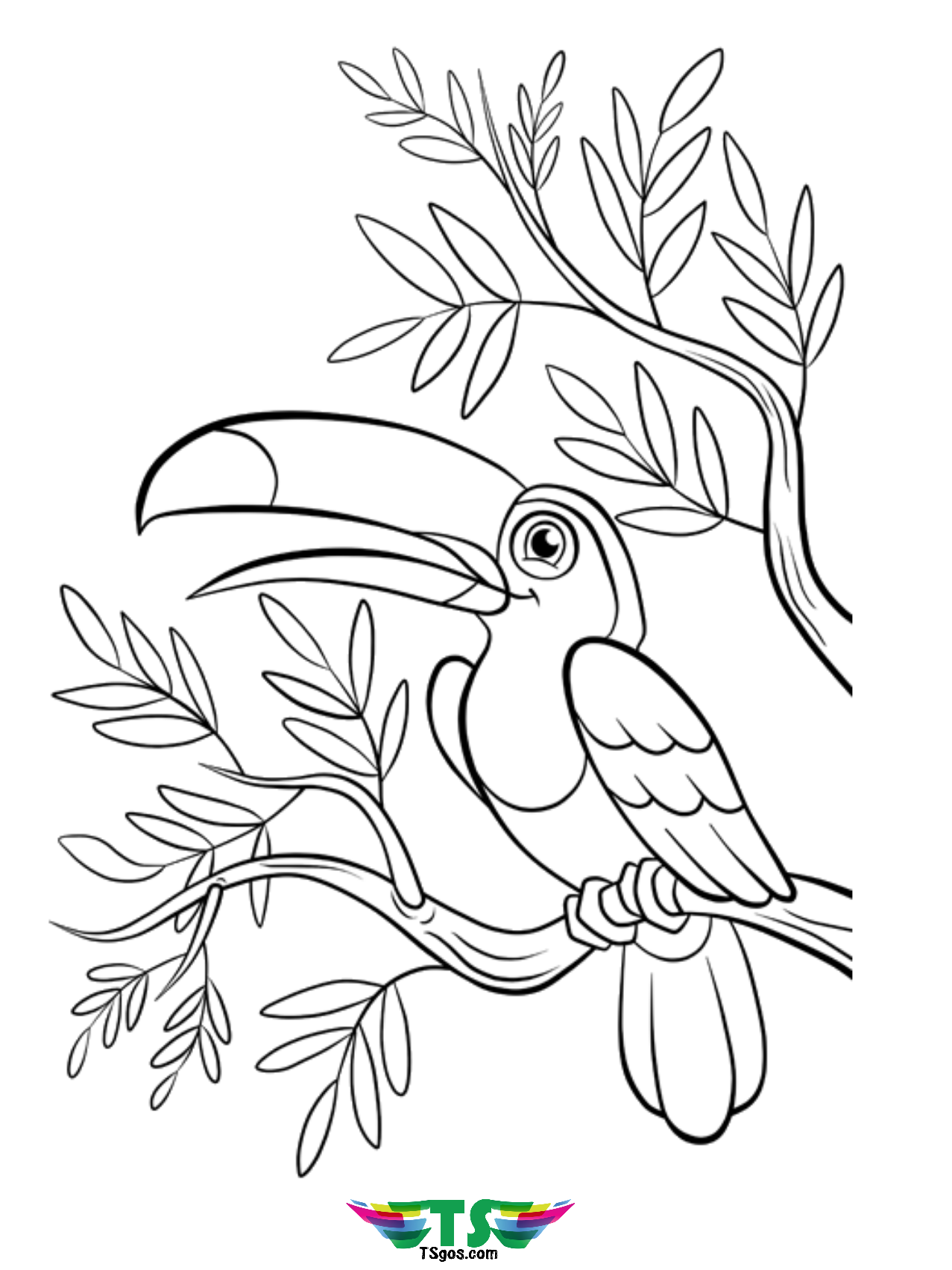 Beautiful bird coloring page free download. - TSgos.com