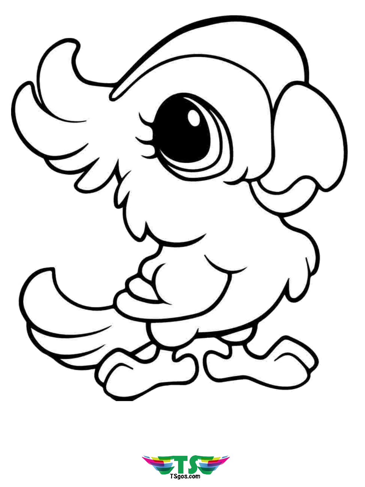 Cute bird coloring page for kids. - TSgos.com