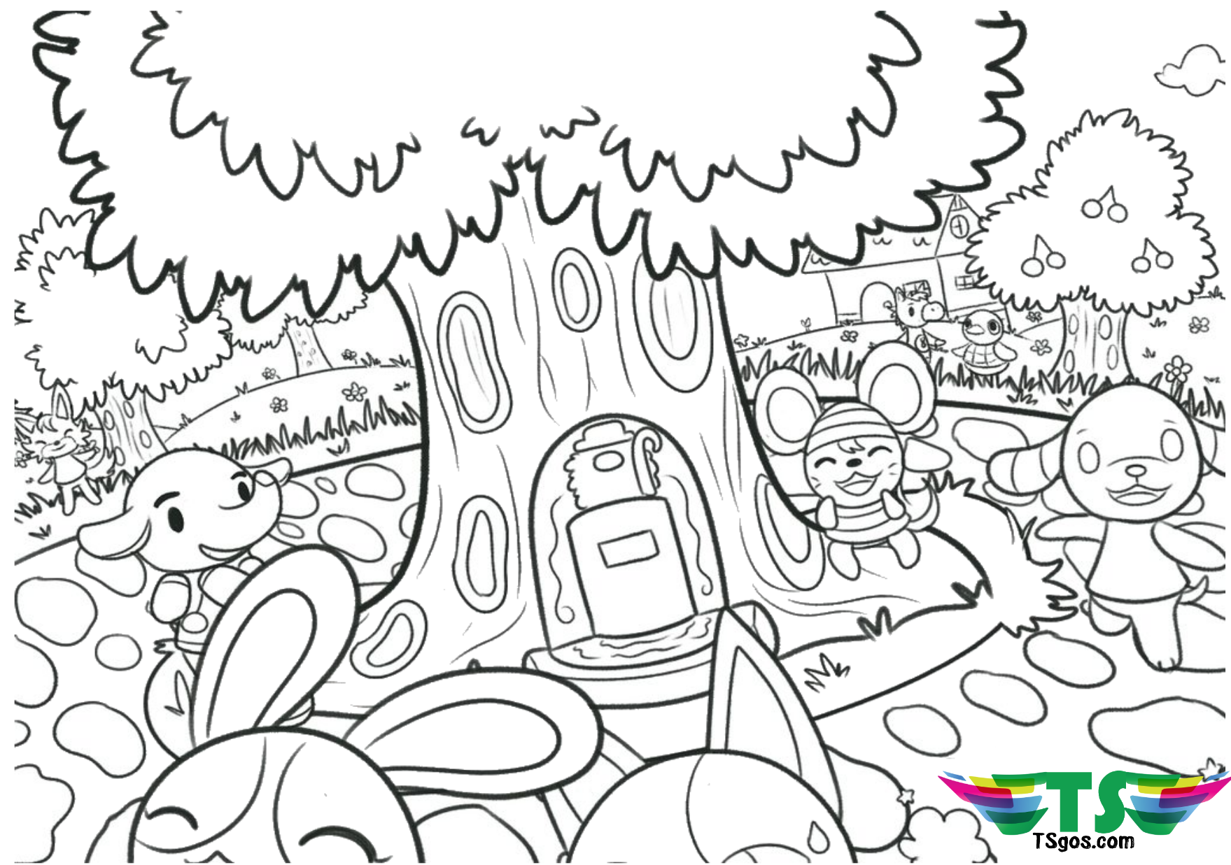 Animal crossing free download and printable coloring page Wallpaper