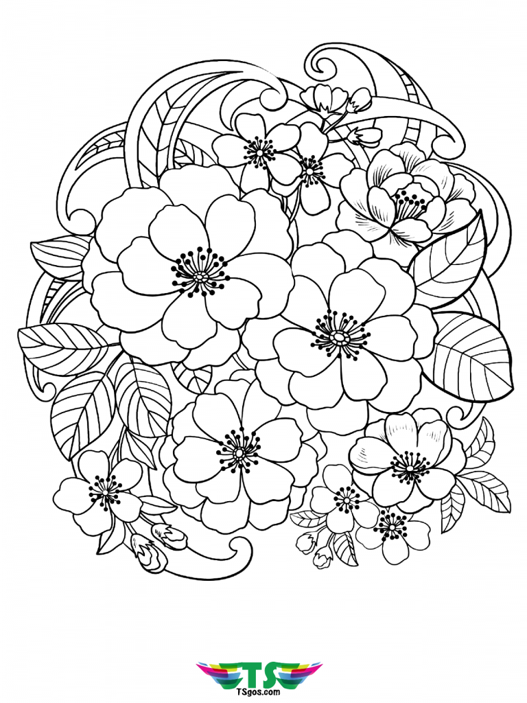 Beautiful Flowers Coloring Page For Kids