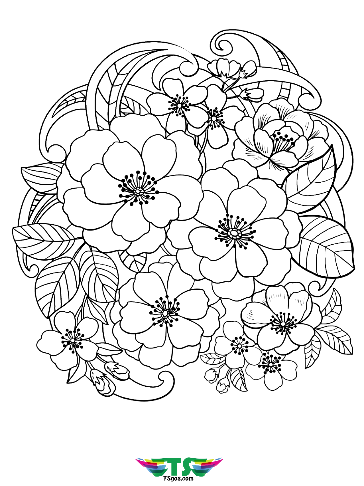 Free printable Beautiful flowers coloring page for kids ...