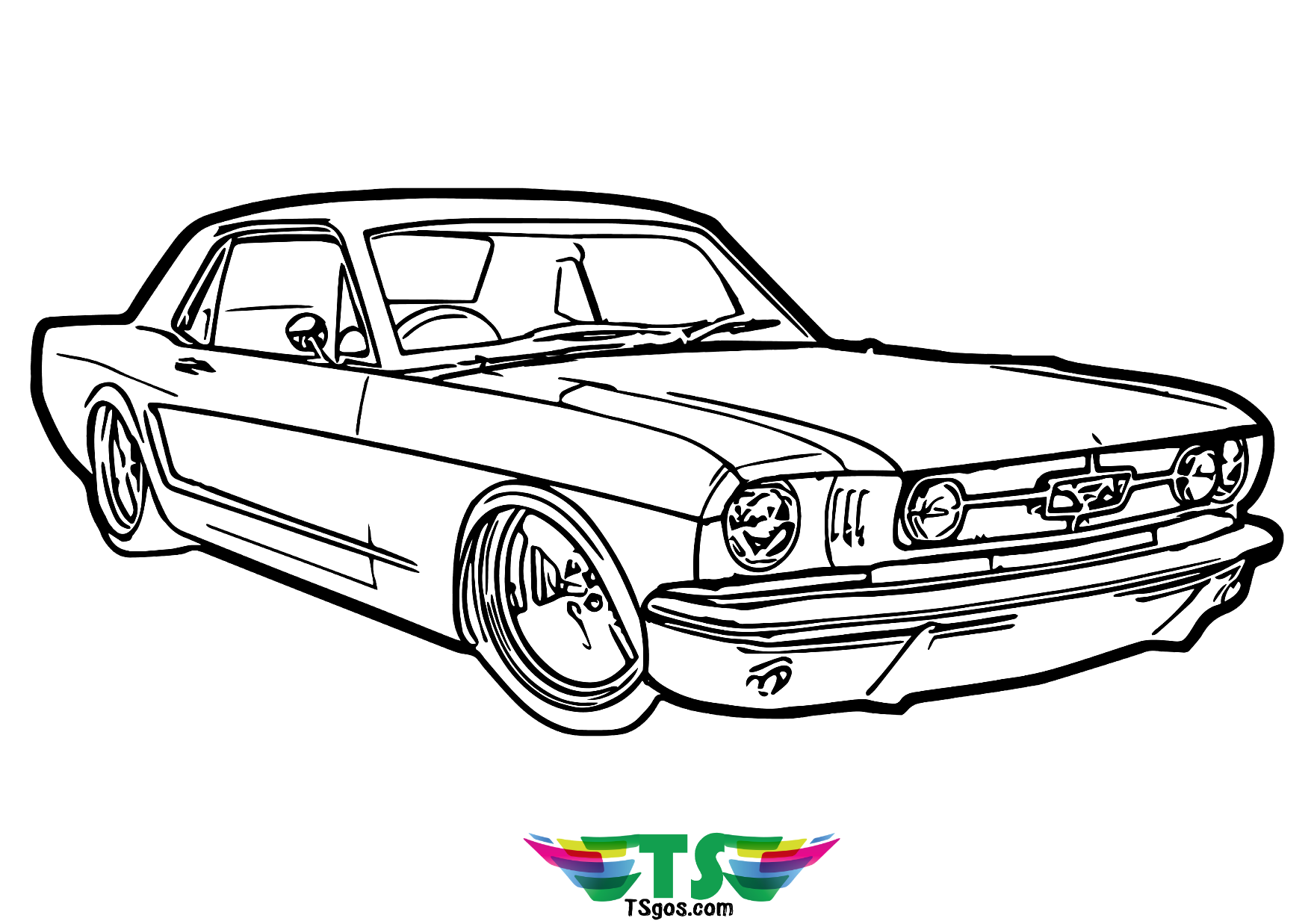 Muscle Car coloring page for kids Wallpaper
