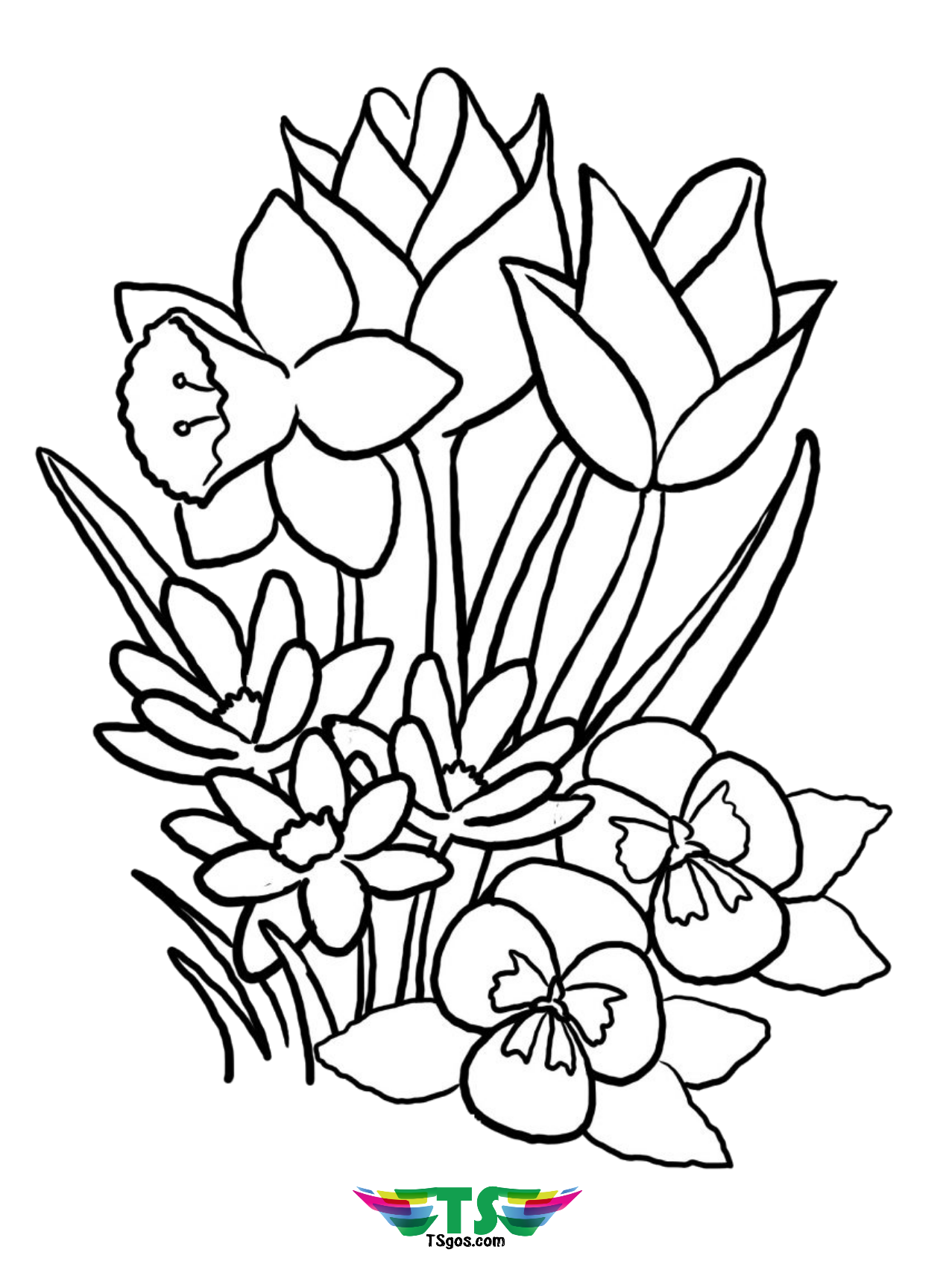 Free download to print beautiful spring flower coloring ...