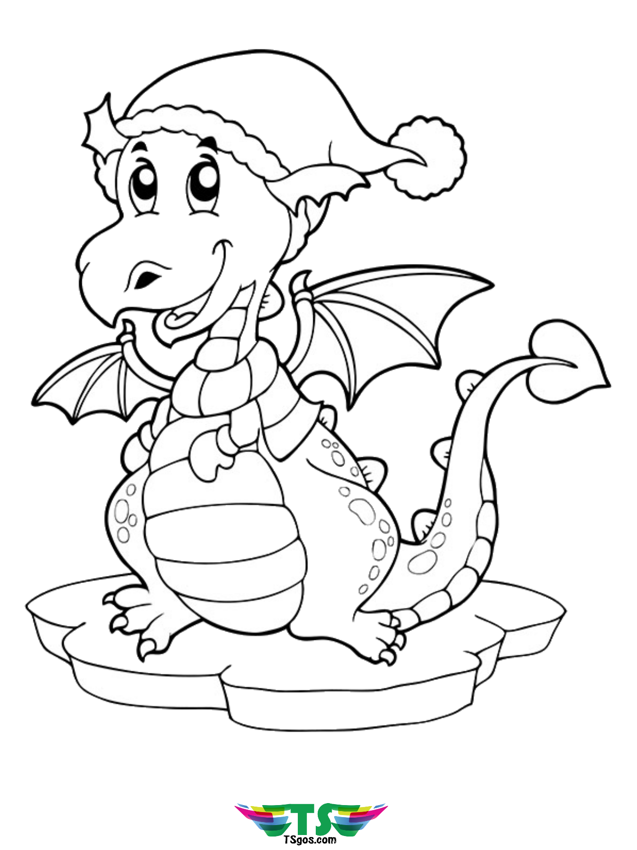- Cute Little Dragon With Cap Coloring Page Easy Coloring For