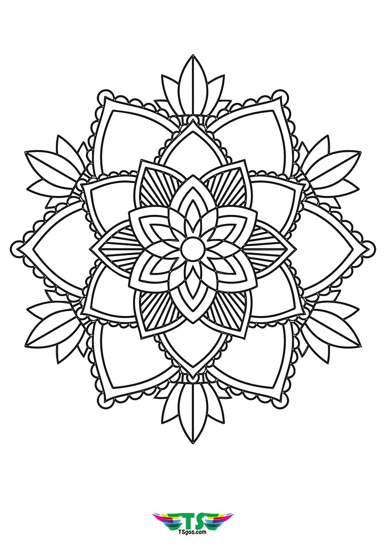 Easy Flower Mandala Coloring Page For Kids Wallpaper