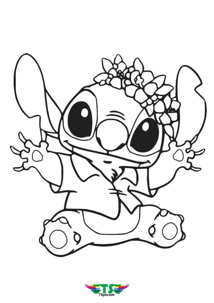 Free Stitch and Lilo Angel Coloring Page For Kids