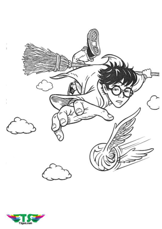 harry-potter-chasing-Quidditch-with-nimbus-broom-coloring-543x768 Harry Potter riding broom Nimbus and chasing Quidditch coloring