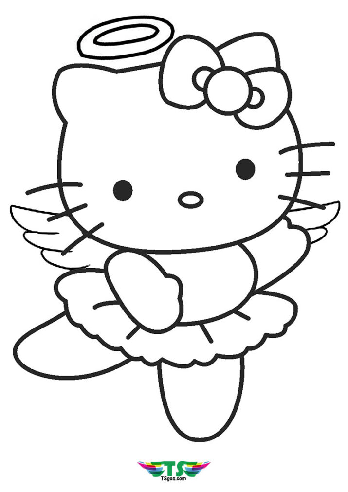 Hello Kitty Angel Coloring Page For Girls