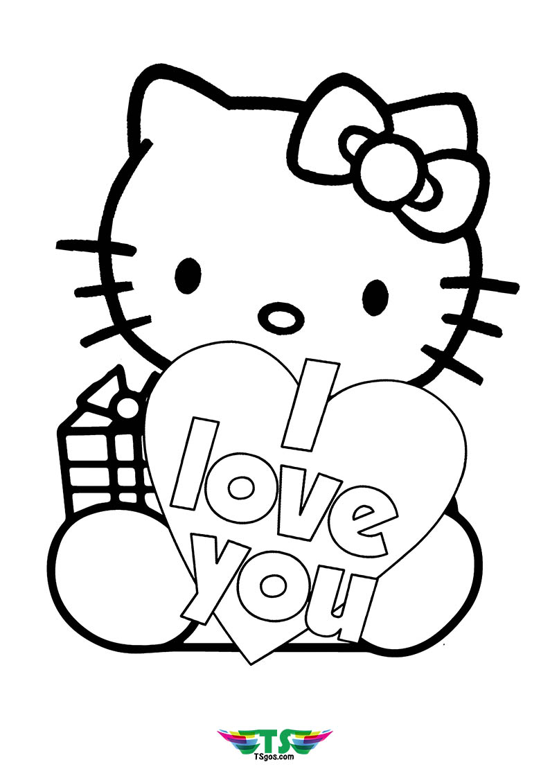 I Love U Hello Kitty Coloring Page