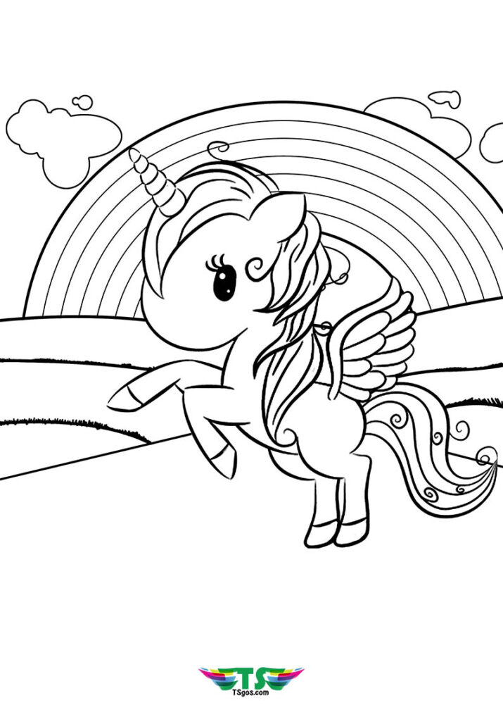 Unicorn Over The Rainbow Coloring Page