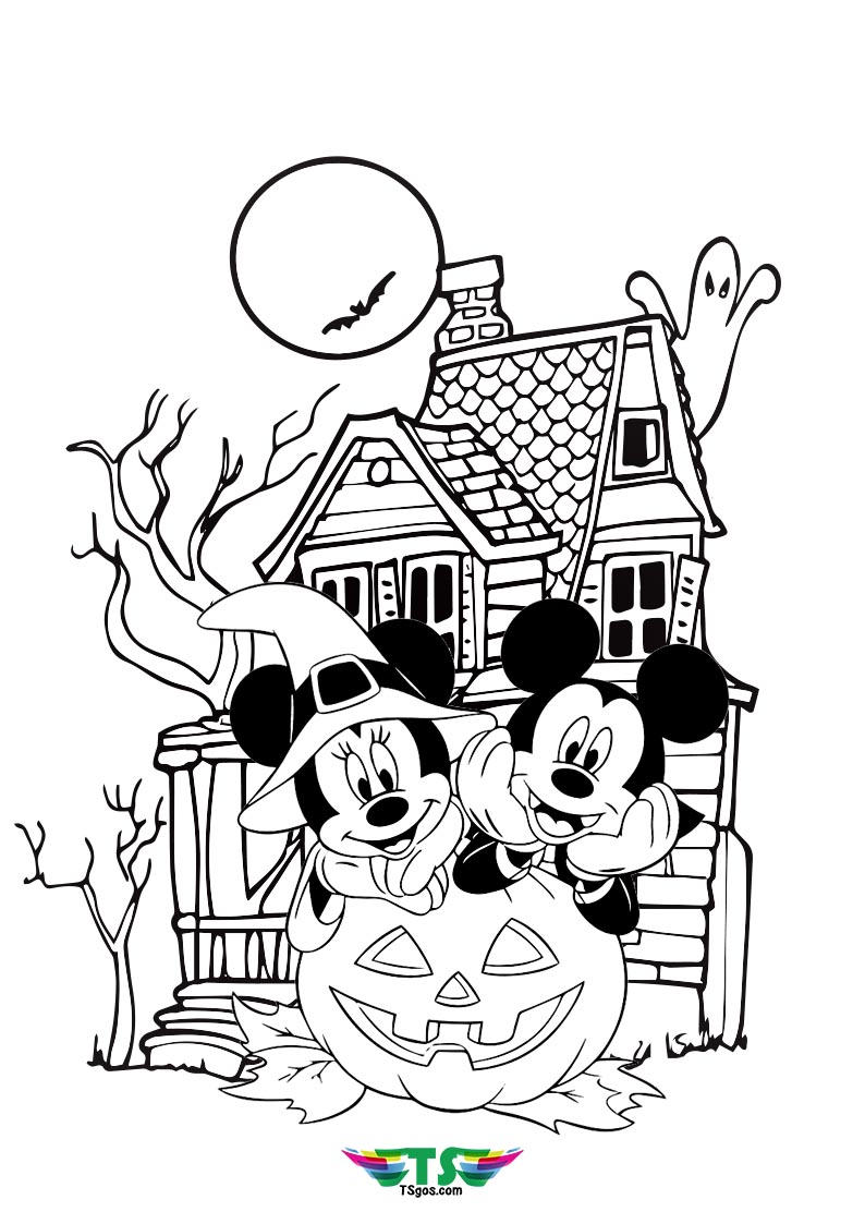 Disney Mickey Mouse Halloween Coloring Page