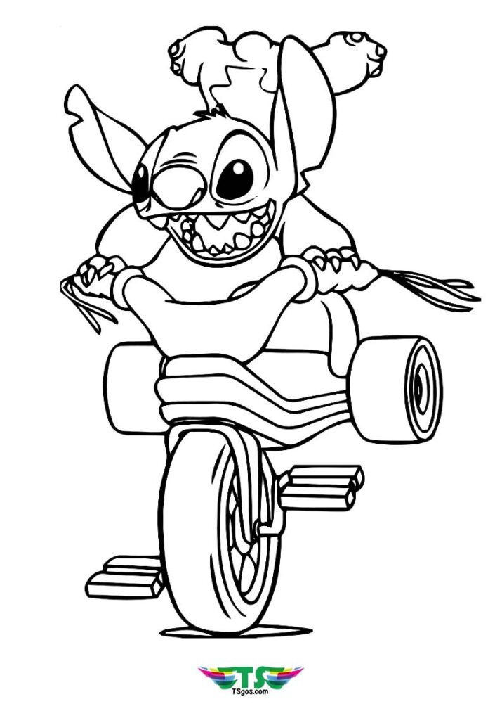 Free Stitch Cartoon Coloring Pages For Kids