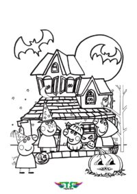 Peppa Halloween Party Coloring Page