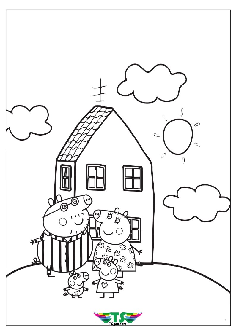 Peppa Pig Happy Family Coloring Page