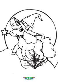 Witch Unicorn Special Halloween Coloring Page