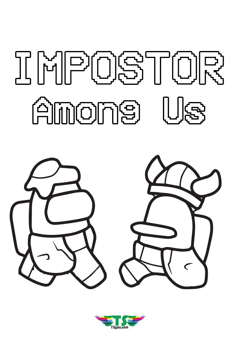 Impostor Fight Among Us Game Coloring Page