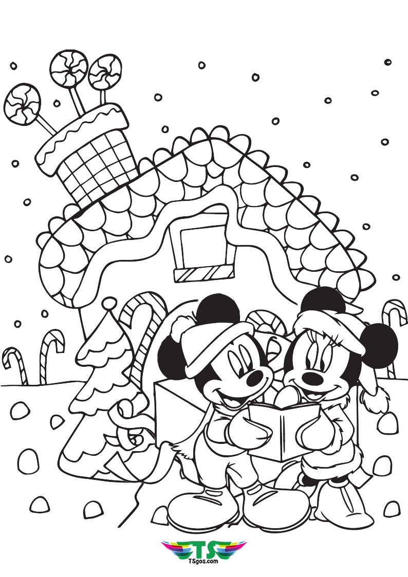 Mickey and Minnie disney christmas coloring pages