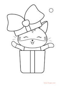 Happy Cute Cat Coloring Page For Kids