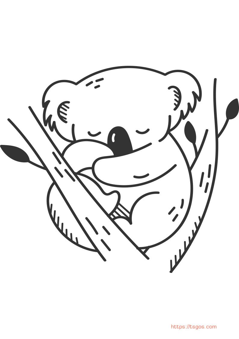 Kawaii Koala Animal coloring page for kids