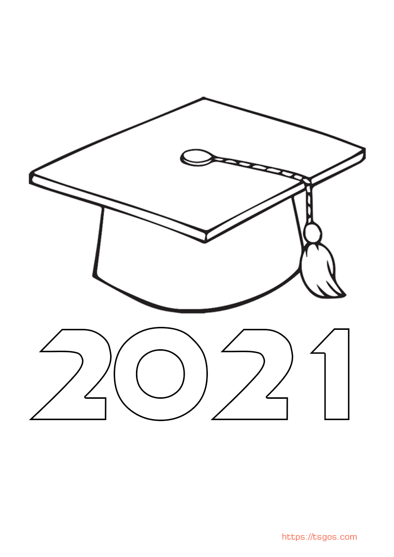 Graduation Hat 2021 Coloring page For Kids
