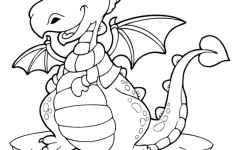 Cute little dragon with cap coloring page easy coloring for toddlers